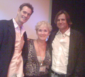 "a                             ""Cougar"" shot of me with the two                             writers and leading men, Drew Pillsbury and                             Martin Grey Gottlieb ""ABOUT                             FIFTY"""
